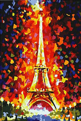 "DIY Paint By Number 16*20"" kit Dreamlike Paris Tower Oil Painting On Canvas 026"