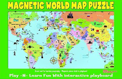 Magnetic World Puzzle Map World Learn Countries and Capitols Goes great on the