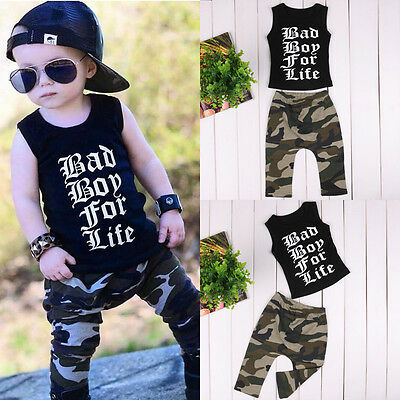 2PCS Toddler Infant Kids Baby Boys T-shirt Tops Camouflage pants Set Clothes
