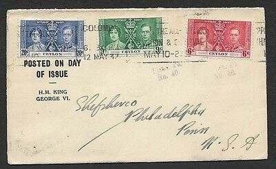 (111cents)Ceylon 1937 FDC to USA