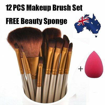 12Pcs Makeup Cosmetic Brushes Set Powder Foundation Eyeshadow Lip Brush Tool TM