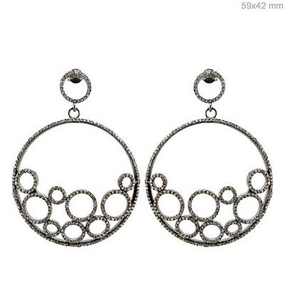 925 Sterling Silver 2.42Ct Diamond Pave Dangle Earrings Inspired Antique Jewelry