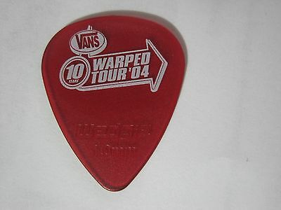 "Vans Warped Tour '04 10th Anniversary"" RARER see-thru RED guitar pick"