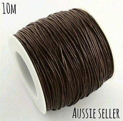 10m Brown 1mm waxed cotton cord DIY necklace jewellery string macrame beading