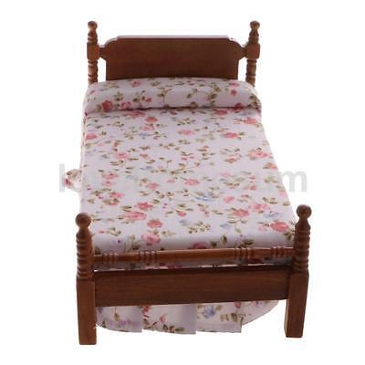 1:12 Scale Dollhouse Miniature Bedroom Furniture Accessory Floral Single Bed