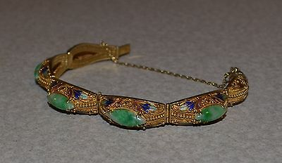 Vintage Stamped14K Gold Art Deco Enameled Braclet With Jade  Stones