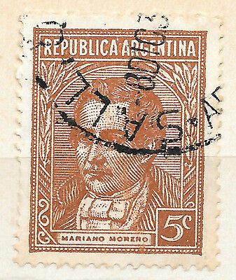1935 5c brown Argentina used stamp showing Mariano Moreno