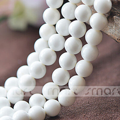 """5A White Natural Shell Round Loose Beads 15.5"""" Inches Strand 4 6 8 10 12 14 16mm"""