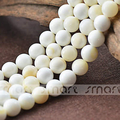 """White Natural Shell Round Loose Beads 15.5"""" Inches Strand 4 6 8 10 12 14 16mm"""