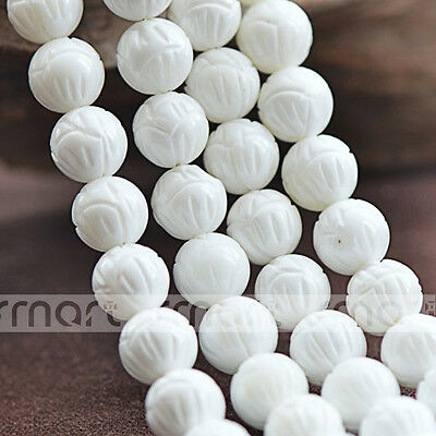 """White Natural Shell Lotus Design Round Loose Beads 15.5"""" Inches Strand"""