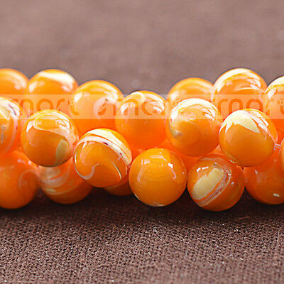 """Orange Natural Trochidae Round Loose Beads 15.5"""" Inches Strand 4 6 8 10 12mm"""