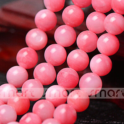 """Pink Natural Shell Round Loose Beads 15.5"""" Inches Strand 6mm"""