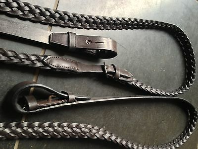 "*sale*......over 50% Off Heritage 100% English Black Cob Size Plaited 5/8"" Reins"