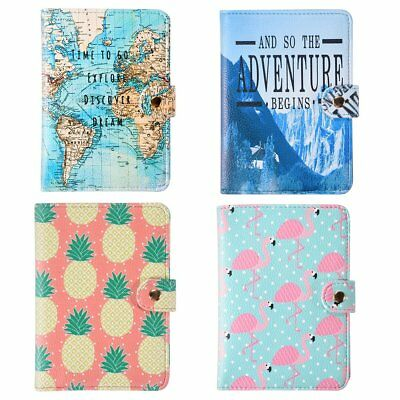Passport Holder Wallet Cover Suitcase Label Address ID Holiday Tags Map Flamingo