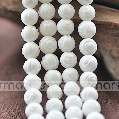 """Natural Shell Rose Design Round Loose Beads 15.5"""" Inches Strand 8 10 12mm"""