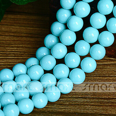 """Blue Natural Shell Round Loose Beads 15.5"""" Inches Strand 8 10 14mm"""