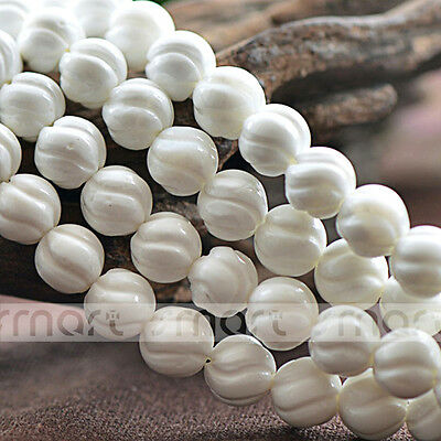 """Natural Shell Twist Design Round Loose Beads 15.5"""" Inches Strand 8 10 12mm"""