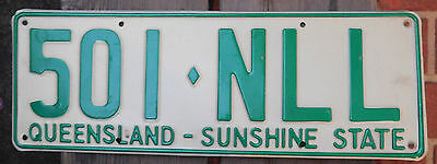 License Plate Number Plate QLD Green Steel    501 NLL