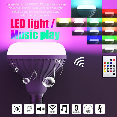 12W E27 LED RGB Bluetooth Speaker Bulb Light Lamp Playing Music Infrared remote