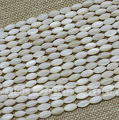 """Natural White Shell Oval Shape Loose Beads 15.5"""" Inches Strand 5x9mm"""