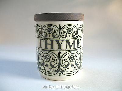 Hornsea Pottery C Scroll Thyme storage pot herb jar 1970s vintage kitchen decor