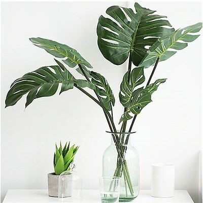 12pcs Artificial Palm Fern Turtle Leaves Plastic Silk Fake Plant Leaf Home Decor