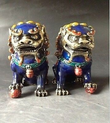 Rare A Pair handwork old Cloisonne painting Copper Statues - Lion Foo Dog