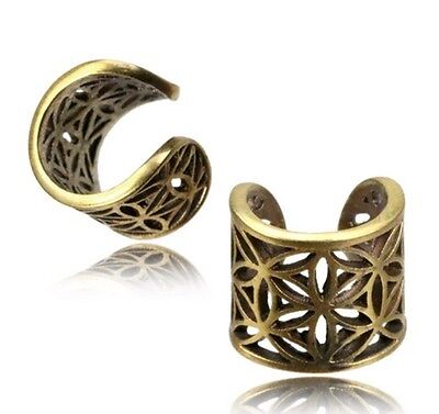 Flower Of Life Brass Ear Cuff Ethnic Dreadlock Bead Dread Beads Ring Earring