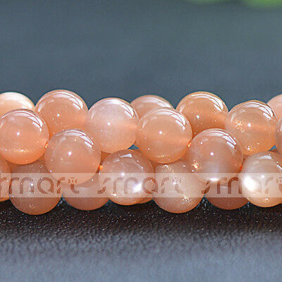 "Natural Orange Moon Stone Gemstone Round Loose Beads 15.5"" Inches Strand 3 4 5mm"
