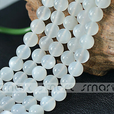 "Natural White Moon Stone Gemstone Round Loose Beads 15.5"" Inches Strand 6 8 10mm"