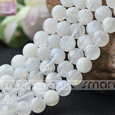 "2A Natural Blue Moon Stone Gemstone Round Beads 15.5"" Inches Strand 4 5 6mm"