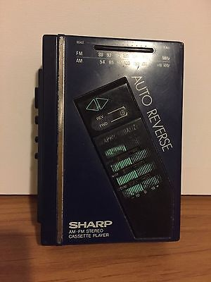 SHARP AUTO REVERSE AM/FM Stereo Walkman Cassette Player - Tested And Working