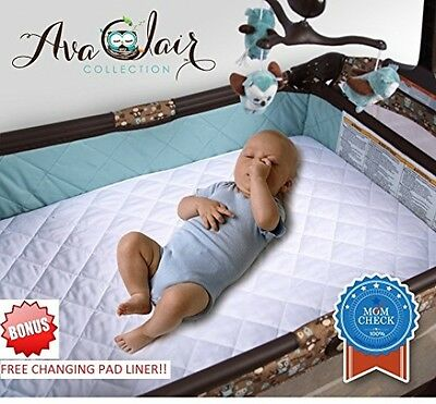 ACC Pack N Play Crib Mattress Pad Cover Plus Bonus Changing Pad Liner, and Best