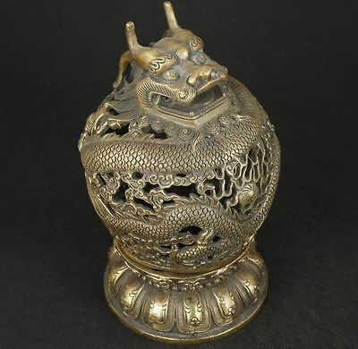 Rare Chinese Old Bronze Collectable Handwork Carved Dragon Incense Burner Nr