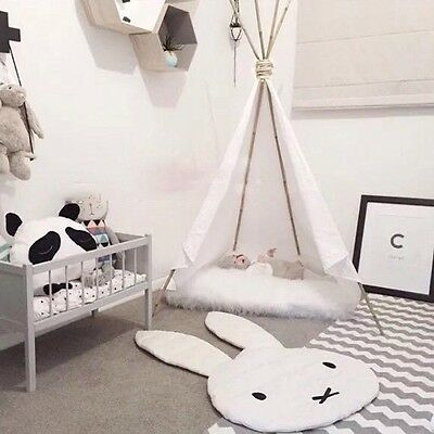 White Miffy Rabbit Quilted Rug Play Mat Nursery Baby Child Bedroom