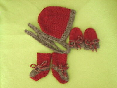 Baby Set Bonnet Booties & Mittens - Maroon/Grey Trim - Hand Knitted