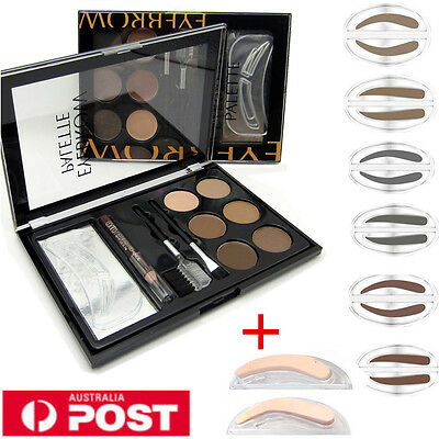 6 Colors Sello de Ceja Para Cejas Sombra Polvo Maquillaje Paleta Cepillo Kit Set