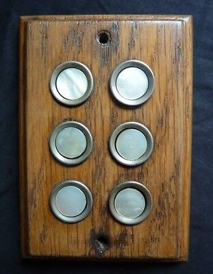 6 Mother Pearl Button Door Bell Wood Pattress / Switch / Lift / Flats / Train