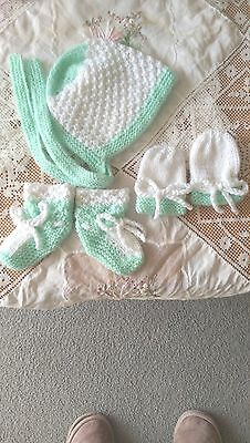 Baby Set Bonnet Booties & Mittens - White and Pale Green -  Hand Knitted