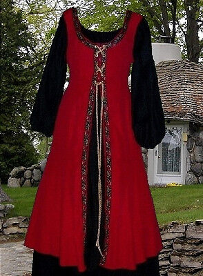Renaissance SCA Garb Medieval Costume Blood Red Black Cotton 2 pc L XL