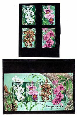 Singapore 1998 Set of 4 (+Sheet), Orchids. SG944-947. UnMounted Mint.