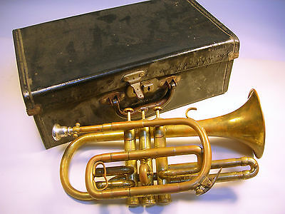 Collectable Vintage Indian Cornet by DAS & Co PATNA in Original Case (WH_0629)