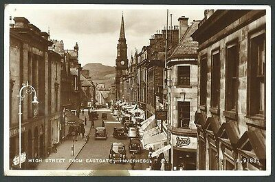 Inverness High Street From Eastgate c1930s Valentine Real Photo Postcard