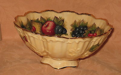 "UNUSED Queens Rosina China Co. Ltd. Antique Fruit Series 6.5"" Footed Bowl"