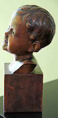 Vtg 1940s wooden carved young boys head/bust/treen signed Introna Scandinavian