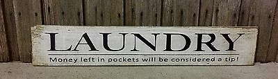 LAUNDRY H15CM x L60CM - Rustic Vintage Style Timber Sign