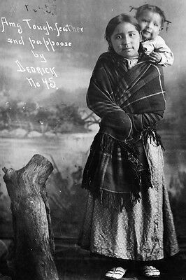 """New 4x6 Native American Indian Photo: """"Amy Tough-Feather"""" with Baby Papoose"""