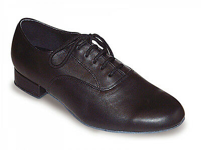 Mens Black Wide Fit Leather Ballroom Shoes - Adult size 8 - Roch Valley PATRICK