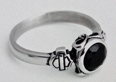 NEW Stainless Steel Women's Biker Ring set with faceted black crystal - Size 8