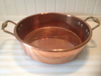 Vintage Large Copper Mixing Hanging Bowl - Thick Walls and Well Made.